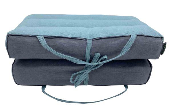 Coussin de Yoga et de méditation modulable / Blue Niagara- Gris